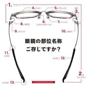 眼鏡の各部分の名称をここでちょっとだけでも覚えませんか?