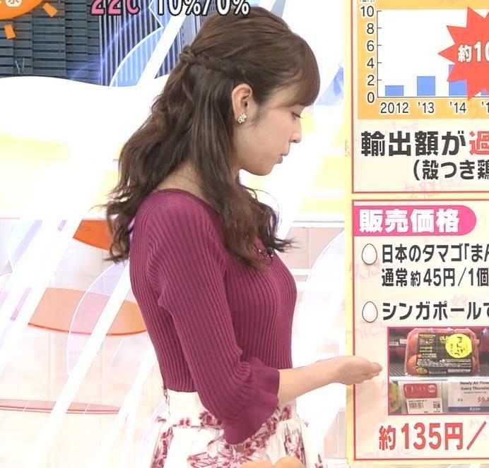 久慈暁子アナ ぴったりニットでおっぱいのお山が二つくっきり