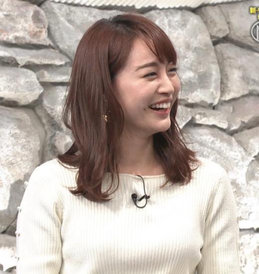 新井恵理那アナ ニットおっぱい