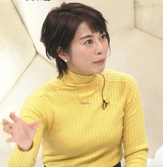 久保田直子アナ ニットおっぱい!