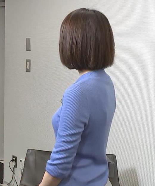 上村彩子アナ ニット横乳
