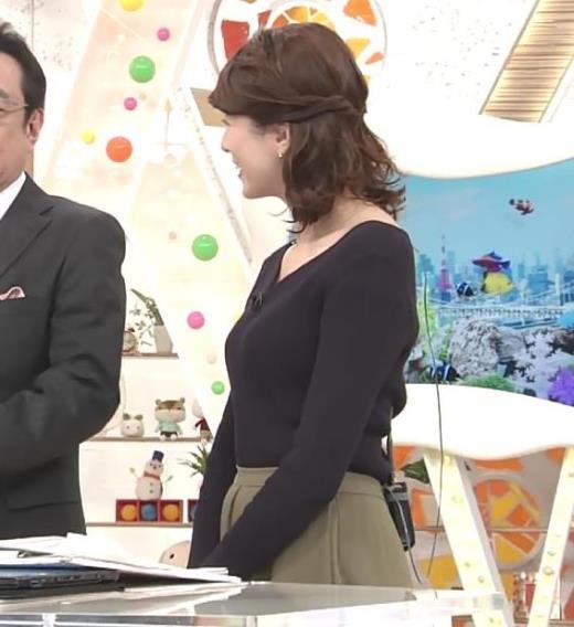 永島優美アナ クッキリしたニット横乳★