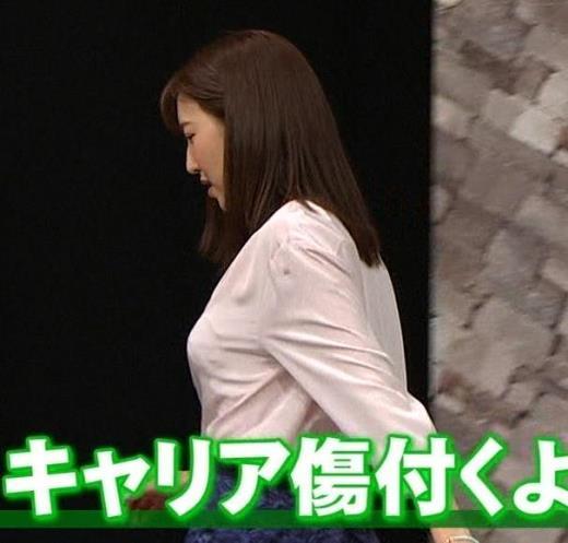 小澤陽子アナ クッキリ!シャツの巨乳横乳