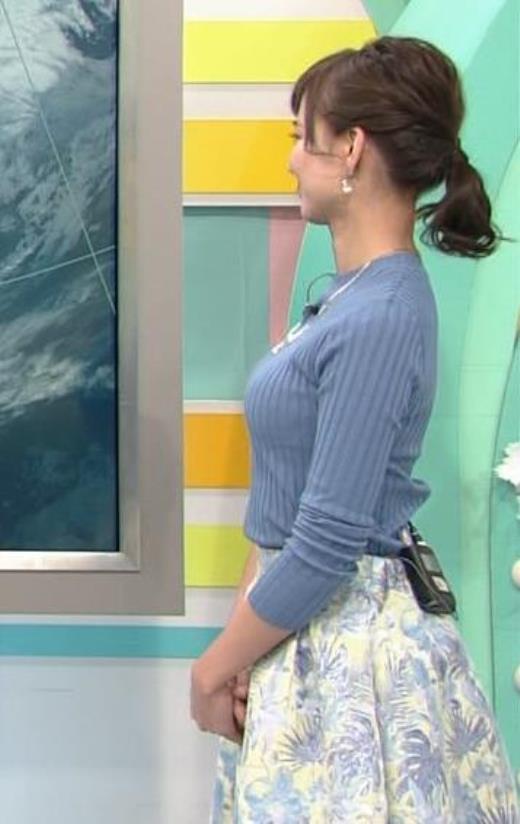 斎藤真美アナ 真横から見たニット巨乳がエロ過ぎ
