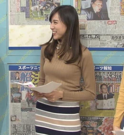笹川友里アナ 美人・巨乳・女子アナ・人妻のニットおっぱい