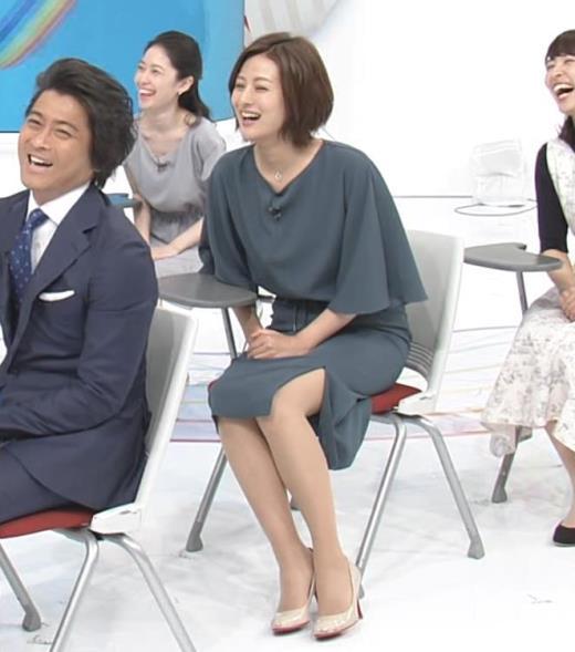 徳島えりかアナ 新婚さんのスリットから見えた脚
