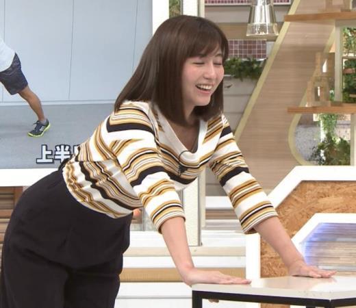 宇賀なつみアナ エロい体操で胸元チラリ!
