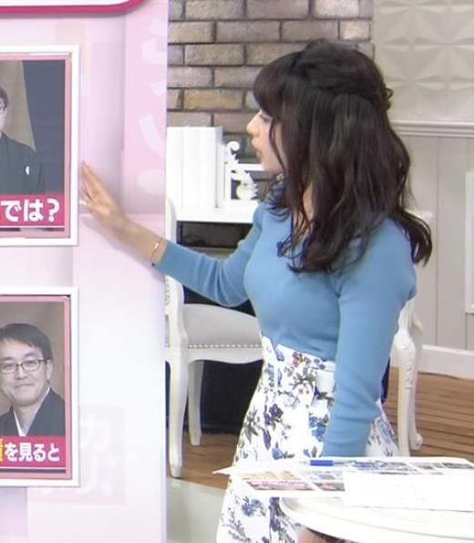 宇垣美里アナ いつもより大きいニットおっぱい
