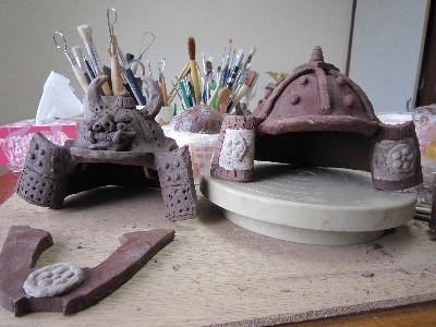 陶器の兜粘土で作る