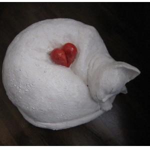 丸猫ハート陶器の猫 陶芸作品