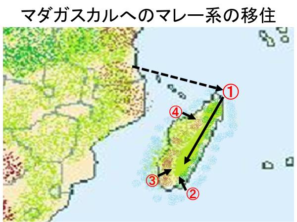 マダガスカルへのマレー系の移住地図
