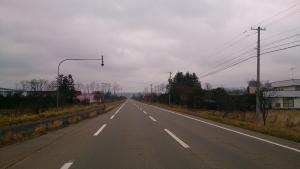 十勝平野、一直線道路。