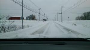 ニセコ、雪道。