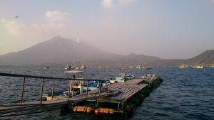 垂水港からの桜島。