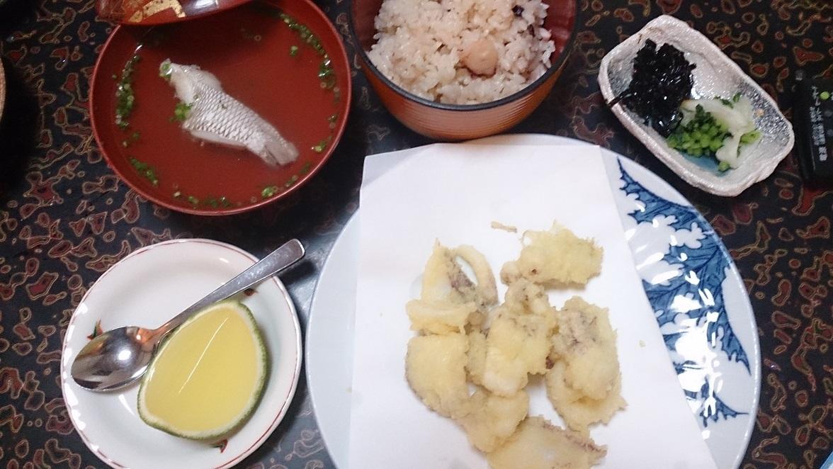 海辺の宿 清力、夕食 イカの唐揚げ、蛸めし