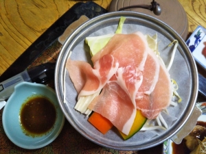 鷹の家、夕食料理10 豚の陶板焼き