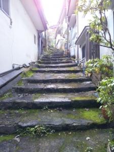 湯平温泉、階段の路地。