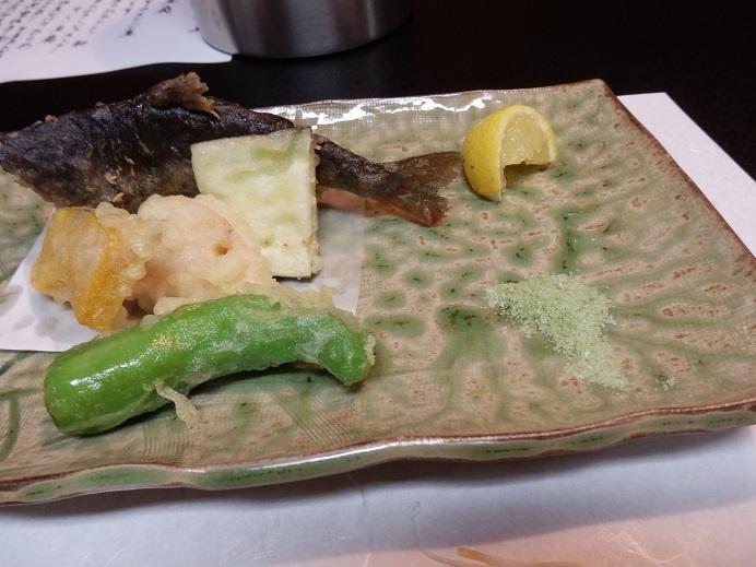 御宿友美荘、夕食、天ぷら。
