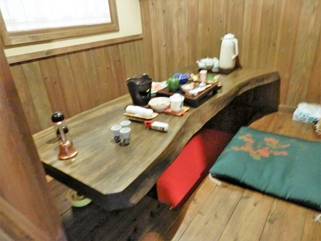 おおぎ荘、食事場所、テーブル。