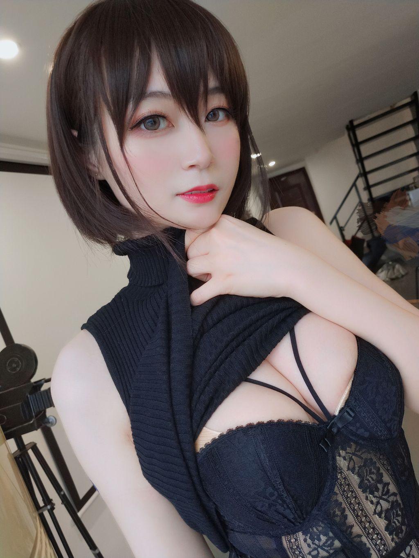 Black hip wrap dress036