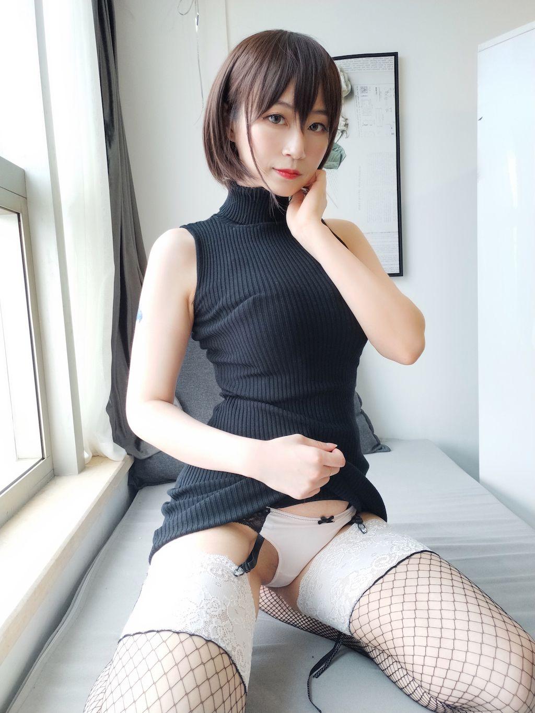 Black hip wrap dress040