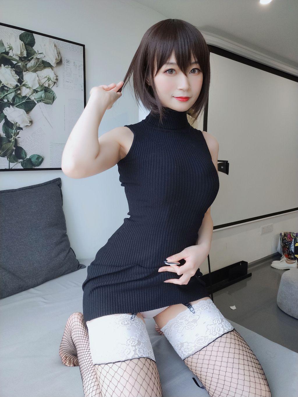 Black hip wrap dress041