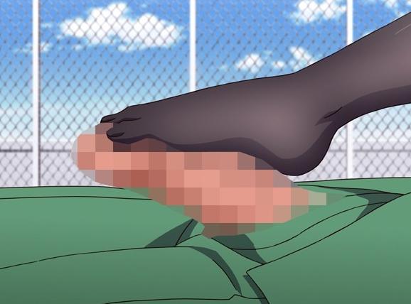 ツンデレ生徒会長の蒸れたパンストの足裏で扱かれる足コキアニメの脚フェチDVD画像3