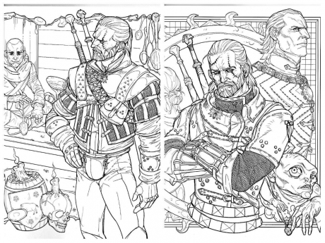 The Witcher Adult Coloring Book scan collage