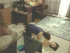秘書の美智子の乳房を揉んでいる吉井
