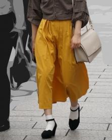 風を受けるひらひらロングスカート
