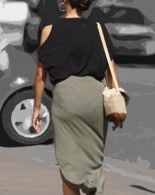 タイトなスエットロングスカート