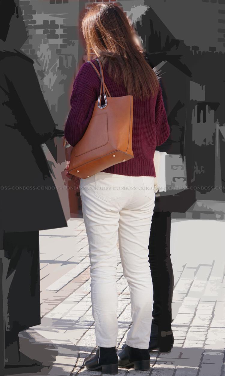 ■ ■vol343-ピチピチっとヒップに食い込み張り付く魅力的なホワイトパンツ