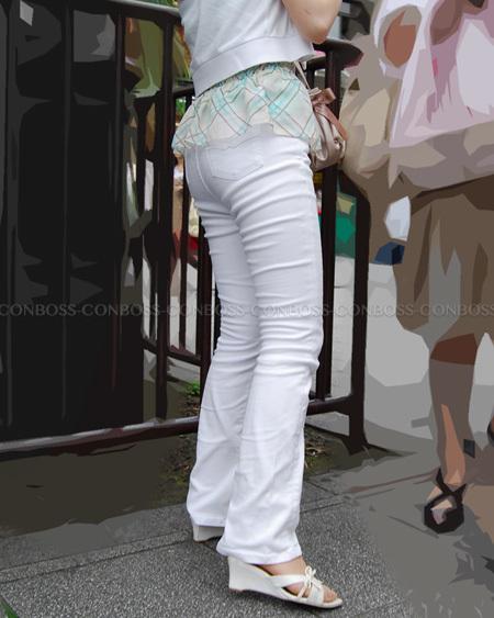 タイトホワイトパンツのぴったりヒップライン