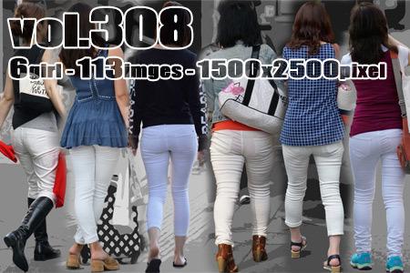 ■ ■vol308-ぴったりタイトホワイトパンツのヒップライン