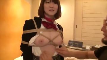 【jk援助こうさい】縛ってもらわないと興奮しないめっちゃエッチな女子校生がおじさんとホテルで変態プレイ!