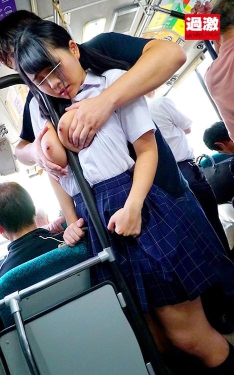満員バスで背後から制服越しにねっとり乳揉みチカンされ腰をクネらせ感じまくる巨乳女子○生 8 稲場るか
