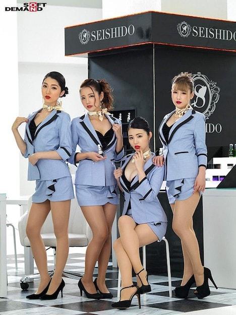 SEISHIDO second デパートで働くセクシーな赤い口紅の美容部員の生フェラごっくんサービス