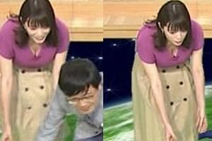 三谷紬アナつ、ついに爆乳胸チラ出してきた・・・