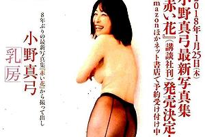 (※閲覧注意)小野真弓がチクビ丸出しでラストスパート勝負してきたぞ「週刊誌の写真集タイトルが「乳房」ってヤバすぎ」