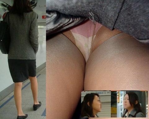 【OL逆さ撮りエ□画像】街中で見かけたOLさんのスカートの中…逆さ撮りされた下半身のエ□さが尋常じゃないwww(画像15枚)