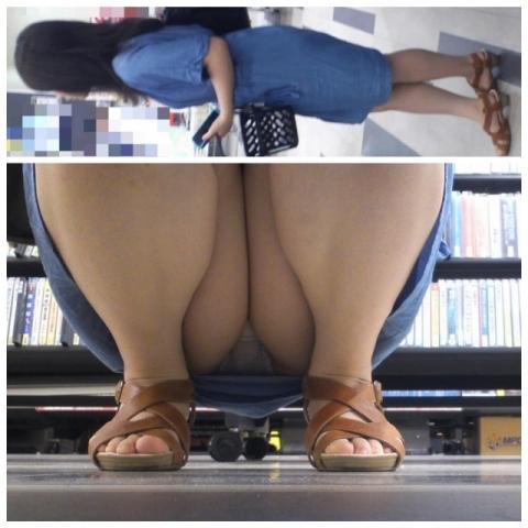 (※おパンツマル見え※)棚の下からパ●チラよ~こんにちは~wwwwwwww