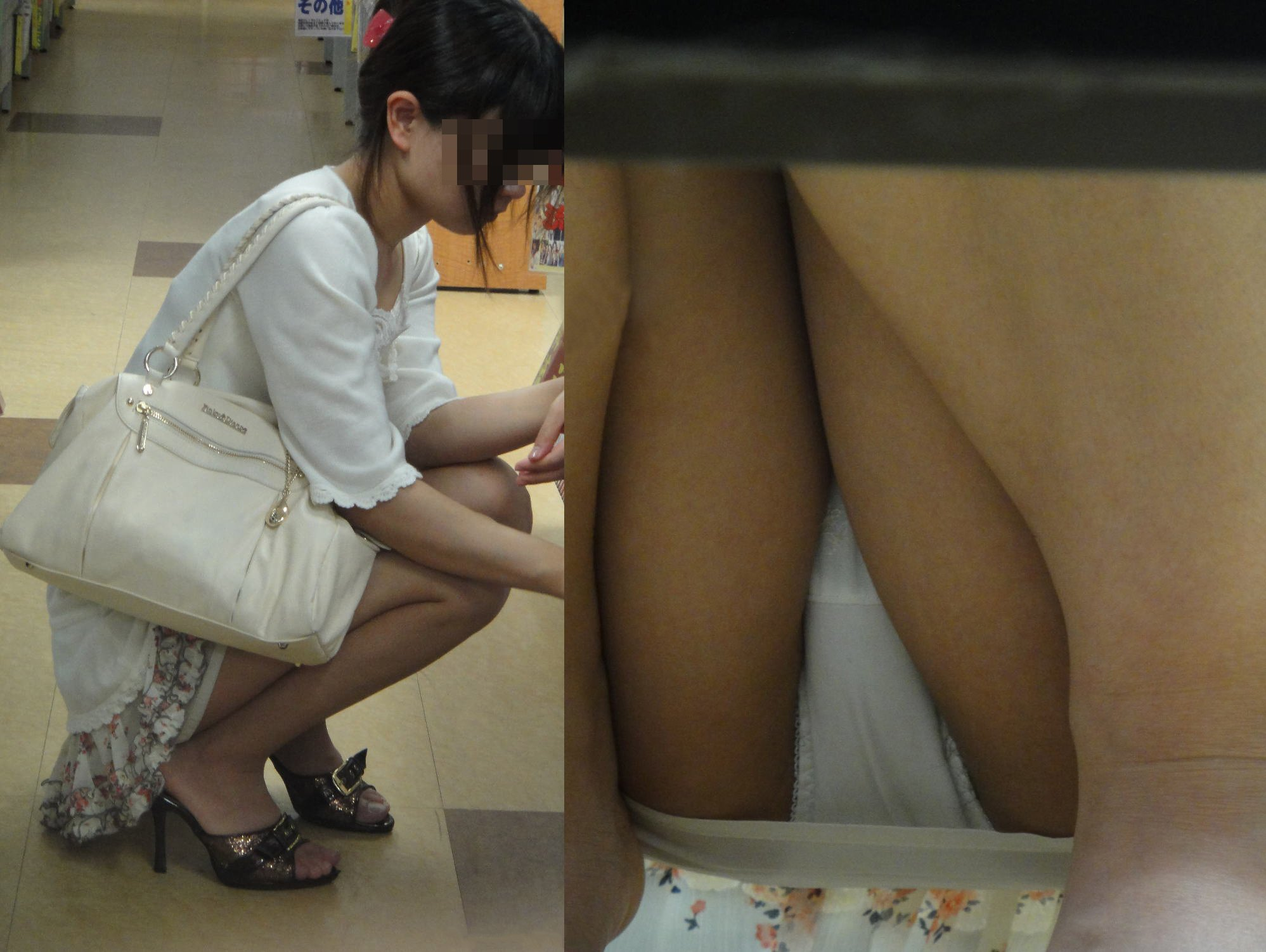 アダルト画像3次元 - スカートの女性がしゃがむのを待って狙い撃った棚下モロパン画像