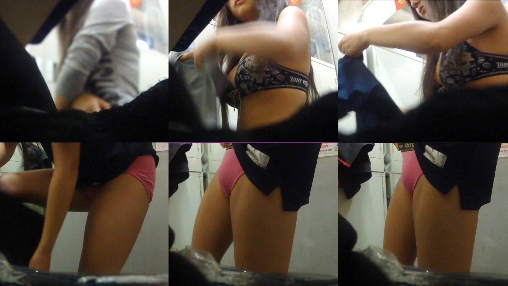 男子禁制の更衣室で女性の着替えをこっそり覗き見たエロ画像
