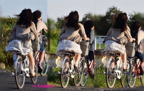 【感激パ●チラ】タイトスカートは斜め前。ひらひらスカートは後ろから見るのが基本な自転車パ●チラww...