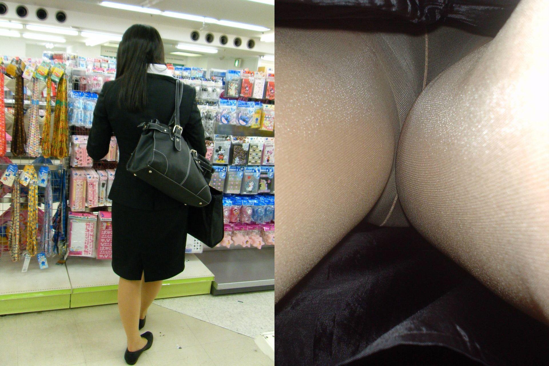 (逆さ撮り)リクルートスーツのOLさん達のスカートにカメラを突っ込んで収録したパンツ丸見え写真