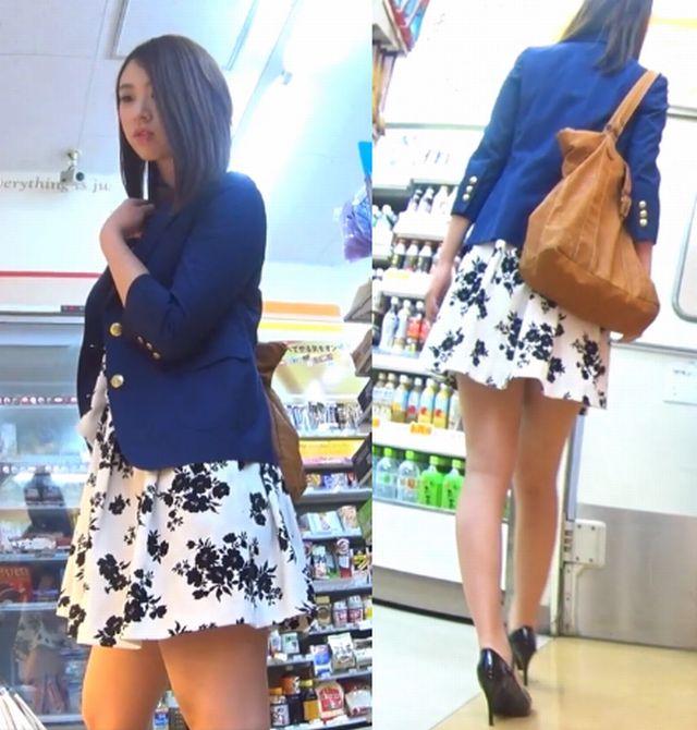 ヒラヒラしたスカートにパンツ丸見えを期待させるミニスカ写真