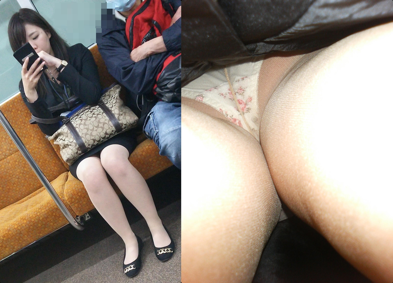 (OL逆さ撮り)OLさんのタイトスカートを果敢に収録したパンツ丸見え写真