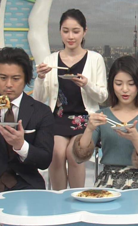 熊谷江里子 両手がふさがってパンチラガードができずにパンツ見えそうキャプ画像(エロ・アイコラ画像)