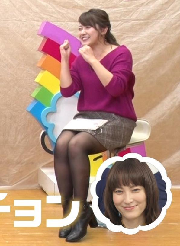 尾崎里紗 むっちり太ももの黒ストッキングキャプ画像(エロ・アイコラ画像)