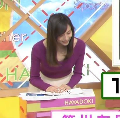 笹川友里 肌の露出が多いニット&横乳キャプ画像(エロ・アイコラ画像)
